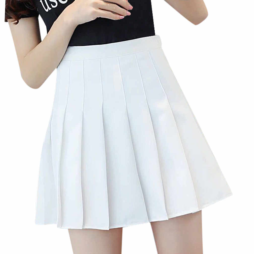 2019 Korean Style Solid Color High Waist Skirt Plus Size Harajuku Women Mini Skirts Ladies Sexy White Skirt Summer Mujer *