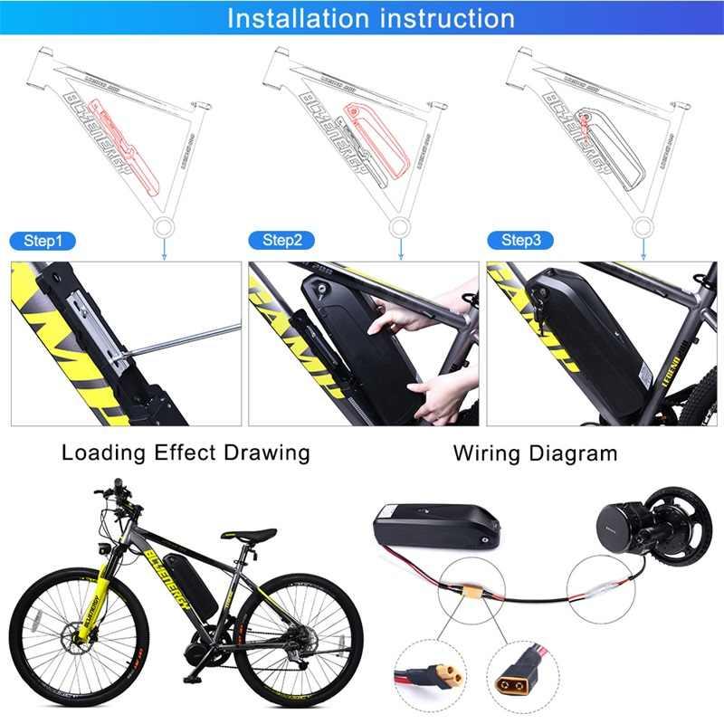 Electric Bike Battery Pack 48V 12Ah 17.5Ah 36V 17.4Ah built in Samsung 18650 Cells Front Rear Hub / Mid Drive Bicycle Motor Kit