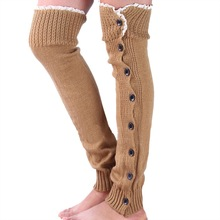Women's Knitted Leg Warmers with Buttons