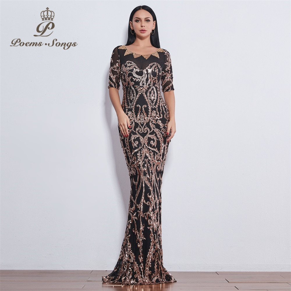 Poems Songs 2019 party beautiful perfect fashion Sequin   Evening     dresses   formal   dress   long   evening     dresses   New style
