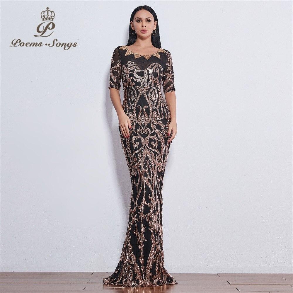 Poems Songs 2019 party perfect fashion Sequin   Evening     dresses   formal   dress   long   evening     dresses   New style vestido de festa