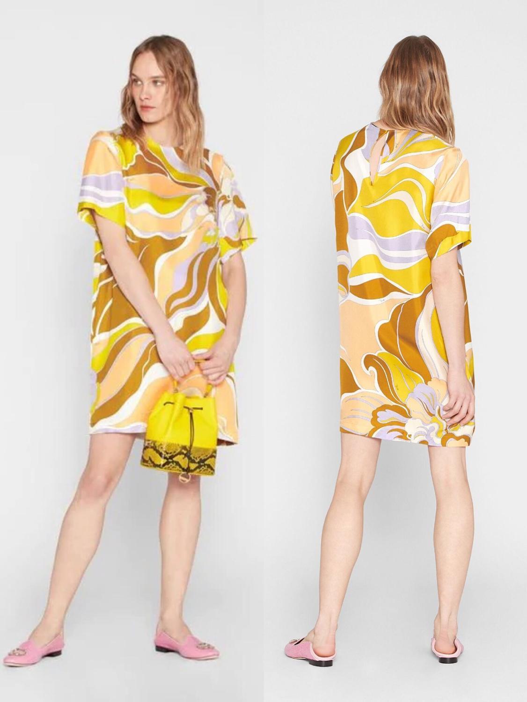 جديد الأزياء المطبوعة قصيرة الأكمام اللون تأثير مرونة محبوك سليم اللباس للنساء-في فساتين من ملابس نسائية على  مجموعة 1
