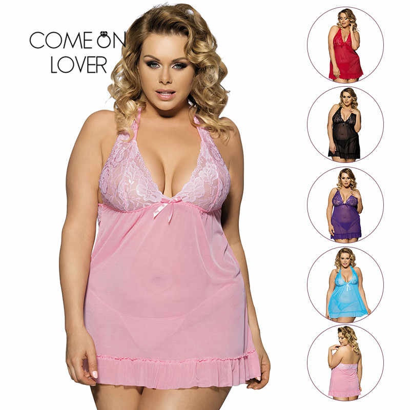 26455d8b6 ... Comeonlover Sexy Clothes Erotic Underwear Women Baby doll Sexy Lingerie  Hot Transparent Plus Size 6XL Lace ...