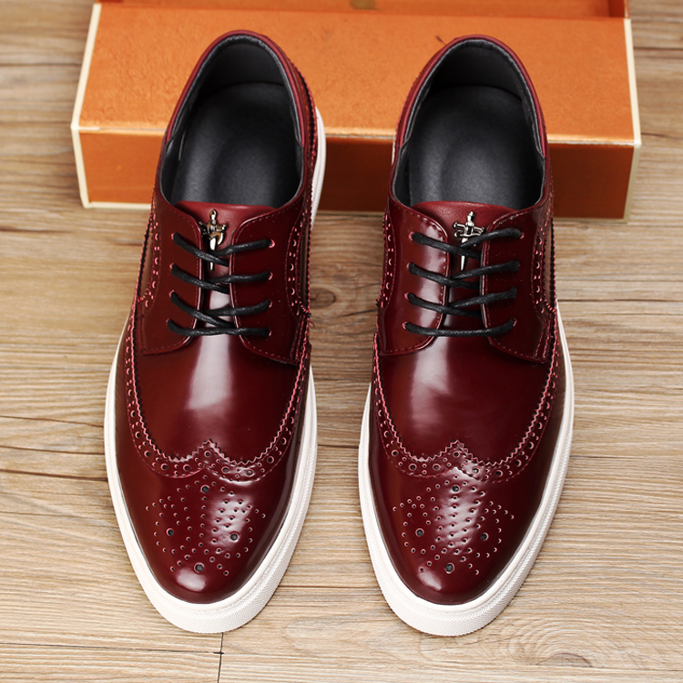 men casual office party dress breathable cow leather brogue shoes carving bullock flats shoe oxfords platform footwear zapatos