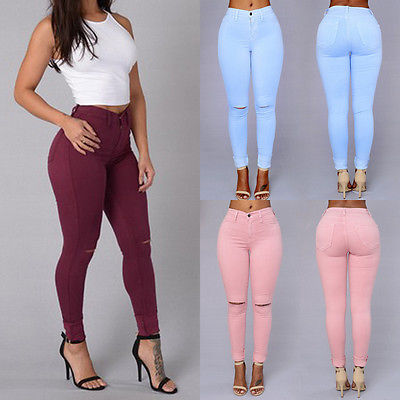 New LADIES WOMEN HIGH WAISTED SEXY SKINNY JEANS PANTS SIZE 6 8 10