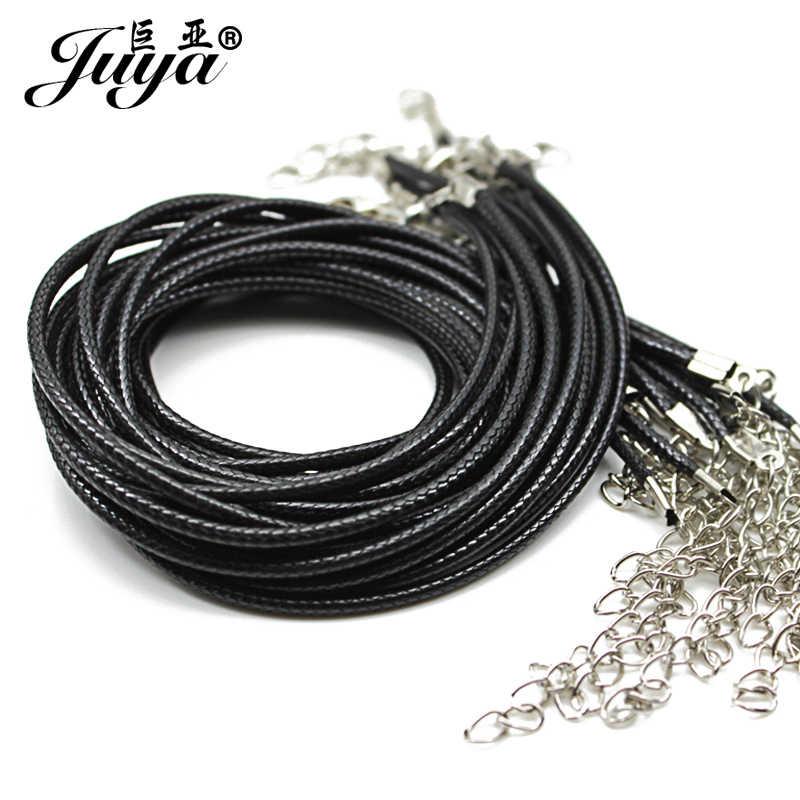 20 pcs/lot 1.5mm noir en cuir véritable cordon réglable tressé 45cm corde pour collier à faire soi-même Bracelet fabrication de bijoux résultats JD0003