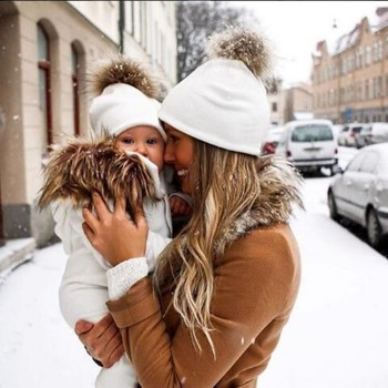 Baby Caps Cotton Parent-child Hats Hair Ball Winter Cute Baby Caps+ Adult Hat Set Artificial Fur Children's Hats