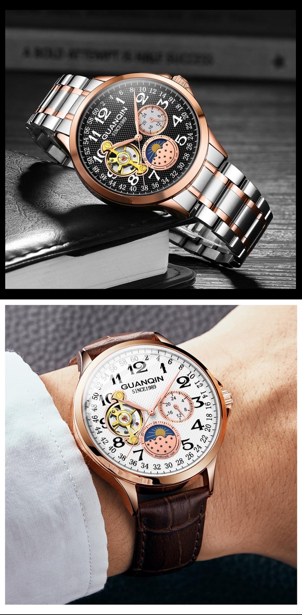GUANQIN mechanical watch men waterproof automatic skeleton tourbillon clock men business top brand luxury Relogio Masculino