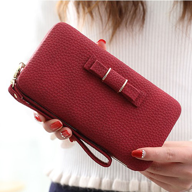 Purse Women Long Wallets Bow Clutch Bag Female Card Holder Cellphone Pocket Famous Brand Lady Money Bag High Quality Coin Wallet 2018 famous brand women wallet long purse leather wallet female card holder fashion coin purse money bag high quality