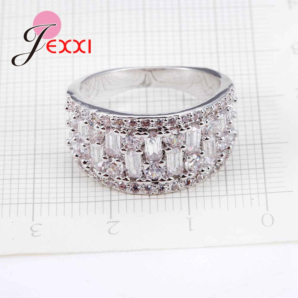 JEXXI Full 4 Row Clear White Crystal Jewelry Wholesale 925 Sterling Silver Wedding Rings Men Women AAA Cubic Zirconia Jewelry