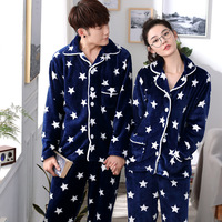 Flannel Men'S Pajamas Fashion Star Print Couple Pyjama Femme Hiver Long Sleeve Two Piece Pijama Invierno Hombre Blue Pajama Set