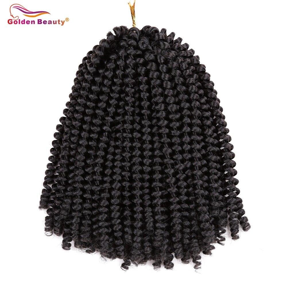 Beleza dourada 8 polegada crochê tranças jamaicano salto sintético tranças de cabelo curto macio afro primavera torção tranças extensões de cabelo