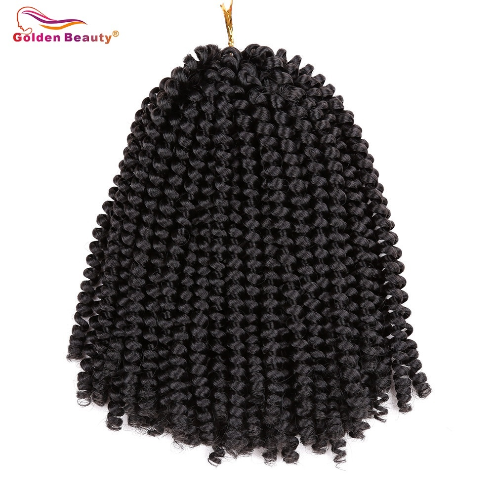 Gyllene Skönhet 8-tums Virka Braids Jamaican Bounce Syntetisk Braiding Hair Short Fluffy Afro Spring Twist Braids Hair Extensions