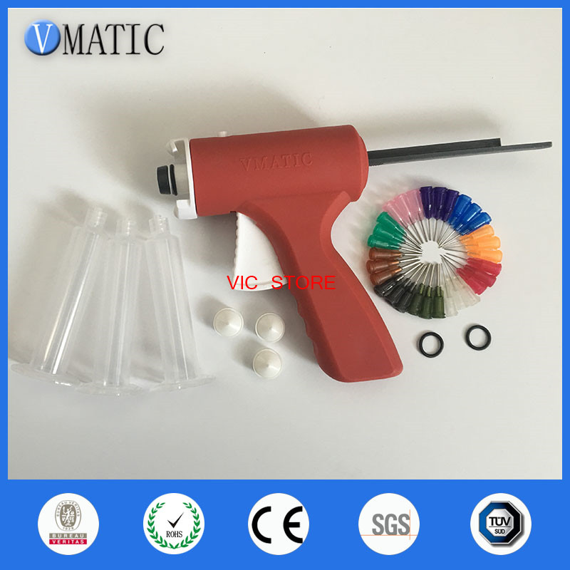 10ML Manual Syringe Dispenser Dispensing Single Liquid Epoxy Resin Glue Gun VC-DG-10cc 100x 10ml syringe of 44
