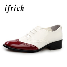 Купить с кэшбэком Popular Pointed Oxford Shoes Men Red Yellow British Style Brogue Shoes Male Comfortable Elegant Men Shoes Lace Up Party Shoes