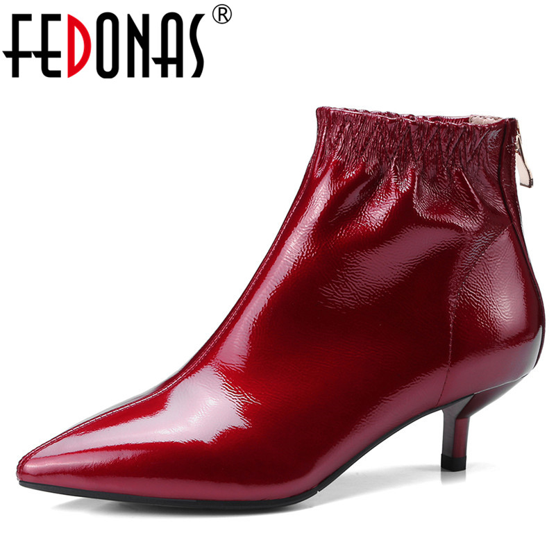 FEDONAS Fashion Women Ankle Boots Pointed Toe Genuine Leather Shoes Woman Martin Boots Autumn Winter Brand High Quality Shoes moonmeek 2018 fashion autumn winter shoes woman pointed toe shoes woman wedges ladies boots women genuine leather ankle boots