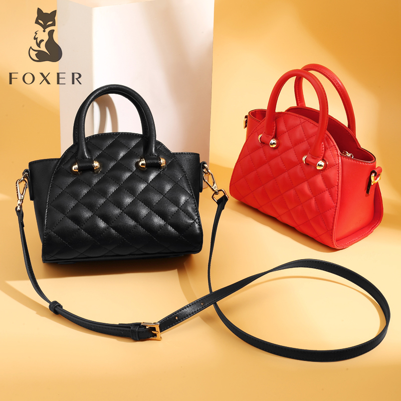 FOXER Brand Womens Leather Crossbody Bag&Handbag Fashion Female Totes Shoulder Bag High Quality Handbags New Trend Qulited Bag