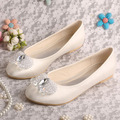 Wedopus Brand Name White Ballet Flats Wedding with Diamond Decoration