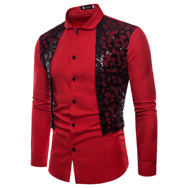 New Sequined lace Patchwork Color Men's Shirt Long-Sleeved Dress Shirt Men'S Business Casual Slim Lapel Male Quality Shirt