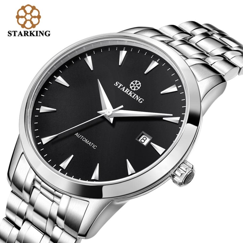 STARKING Original marque montre hommes automatique auto-vent en acier inoxydable 5atm étanche affaires hommes montre-bracelet montres AM0184