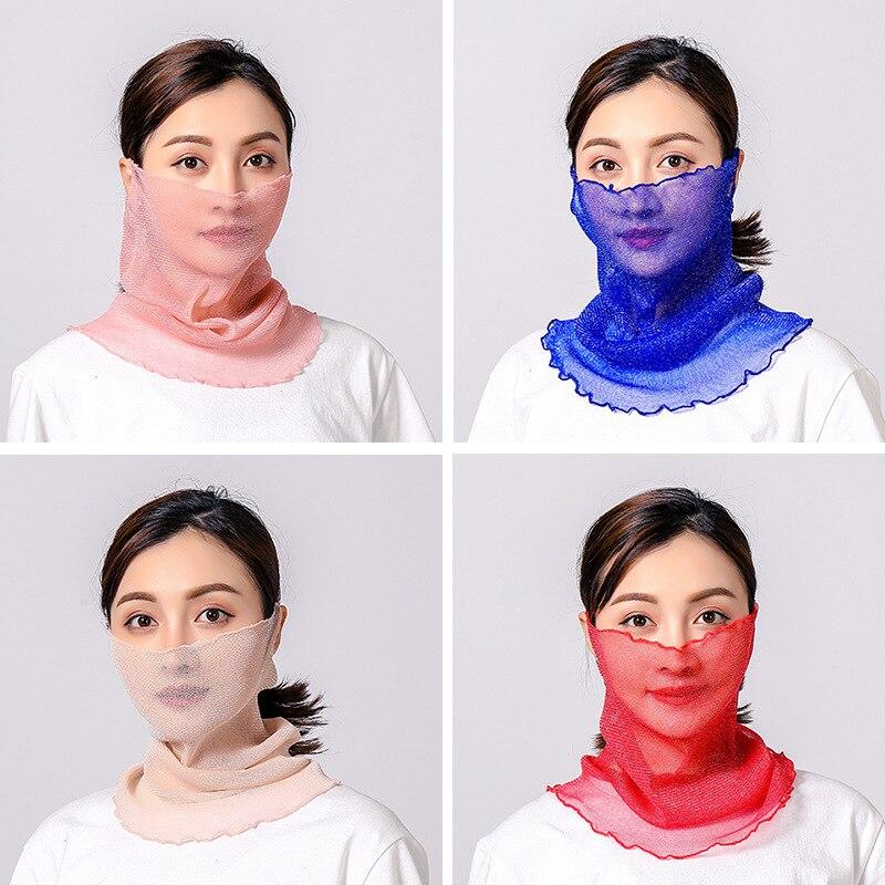 Women Silk Face Scarfs Solid Summer Sunscreen Female Neck Hair Scarfs For Ladies Fashion Face Mask Chiffon Ring Hijab