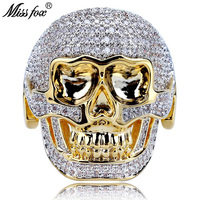 MISSFOX Hip Hop Domineering Skull Diamond Rings For Men Full Painting Stone 18k Gold Punk Ring Men Personalized Luxury Mens Ring