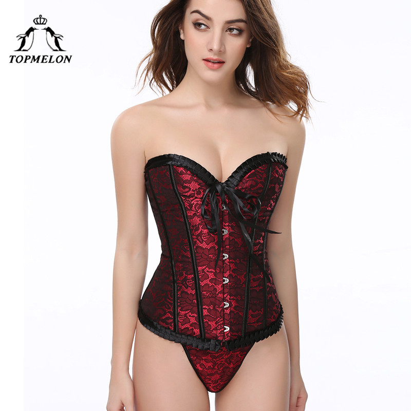 TOPMELON Sexy   Corset   Women   Bustier   Gothic Steampunk   Corsets   and   Bustiers   Corselet Slimming Lace Floral Party Shows Club Tops