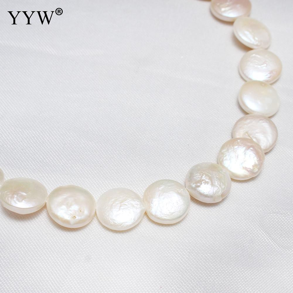 980774dc678d3 US $7.19 35% OFF YYW High Quality Cultured Coin Freshwater Pearl Beads Flat  Round Natural White 14 15mm 15.3