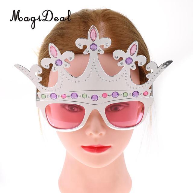 f22d6f5d5 الأزياء جوهرة الفضة تاج النظارات الشمسية الاطفال الكبار الأميرة عيد الميلاد  تيارا العين نظارات زي حفلة
