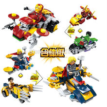 4pcs/set Building Blocks Superman Iron man The Hulk X-Men Origins Wolverine Fit version Bricks Mini Figures Toys JX60001