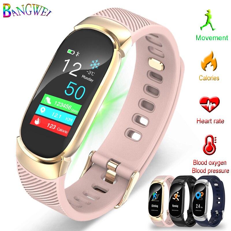 BANGWEI montre de sport intelligente homme femme IP67 montre étanche fréquence cardiaque en oxygène du Sang moniteur de pression artérielle Bluetooth Montres Smart