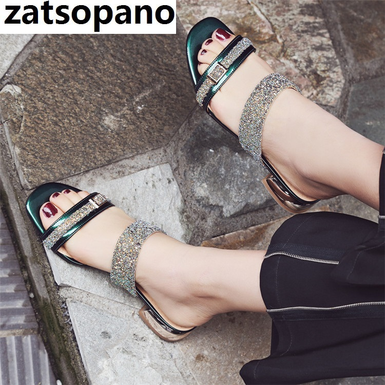 Zatsopano Summer Shoes Crystal Slides Shoes Women Flip Flops Low Heel Casual Shoes Sexy Diamond Rhinestone Slippers Shoes Woman