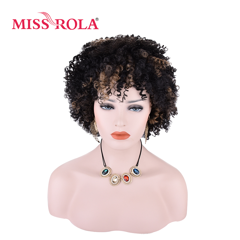 Miss Rola BLOOM Curly Synthetic Wigs SP1B/27# 5Inch Stripes Color Japanese Kanekalon Fiber Short Hair Wigs For Women 1PC
