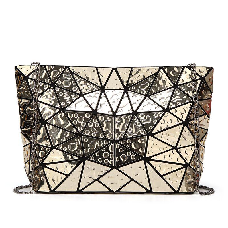 Капля Зеркало Эффект цепи сумка модные женские туфли Сумки ромбовидная решетка раза через плечо и сумки через плечо сумка-мессенджер Ba