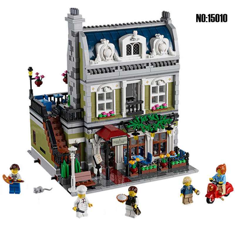 Lepin 15010 Diy Creator City Street Parisian Restaurant Building Blocks Bricks Toys For Children Compatible with Legoingly 10243