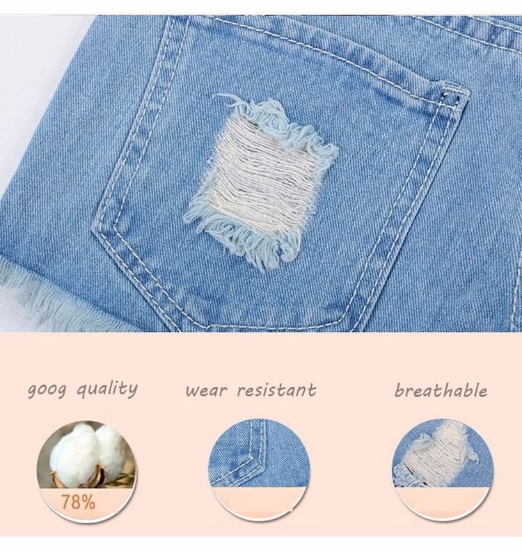 Fashion women Korean summer denim shorts sexy punk rivet hole mini jeans shorts soft bottom plus size female blue shorts A160 5