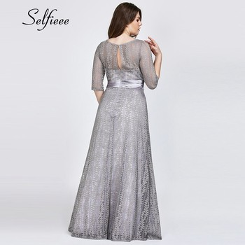 Elegant A Line Grey Lace Party Dress Women 2020 New Spring Elegant O Neck Half Sleeve Plus Size Dress Long Maxi Dress Robe Femme 2