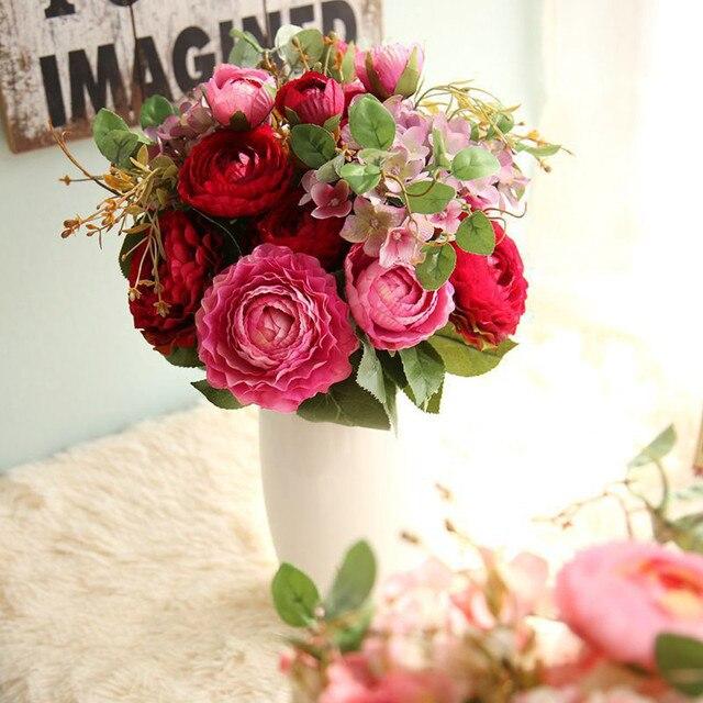 Fake Flowers Land Lotus Floral Wedding Bouquet De Mariage Mauve Party Home Decoration Artificial Cheap