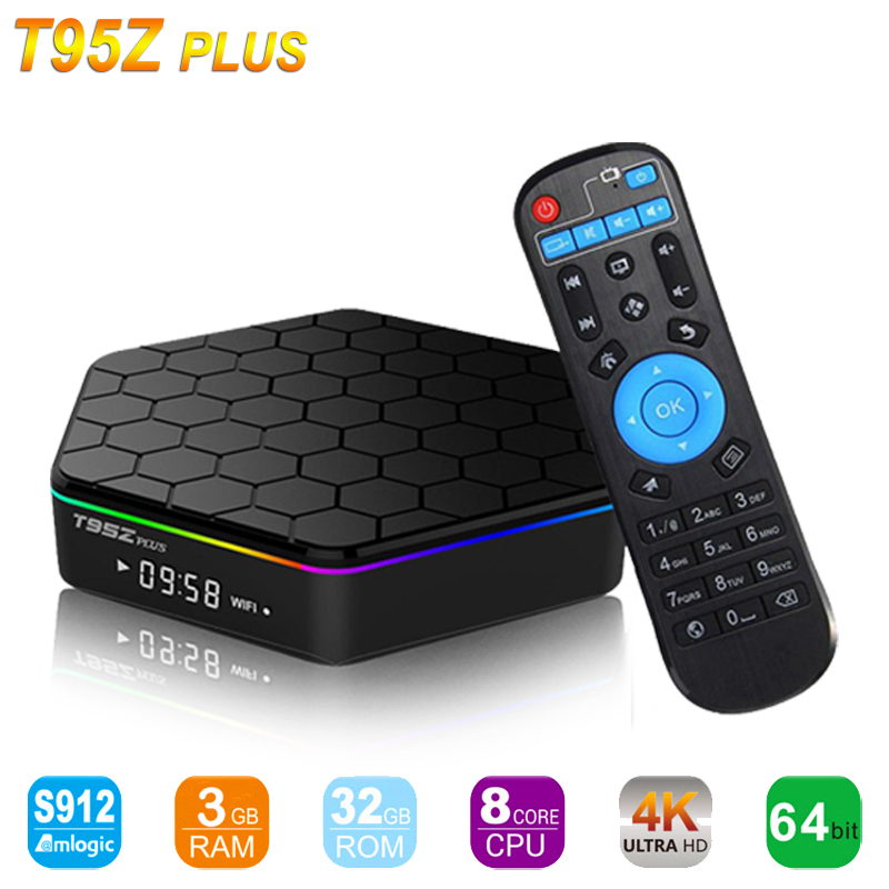 T95Z Plus Android7.1 KODI17.3 Smart TV BOX 2/3G Ram 16/32G Amlogic S912 Octa Core Dual WiFi 1000 M 3D 4 K Médias lecteur Set top box