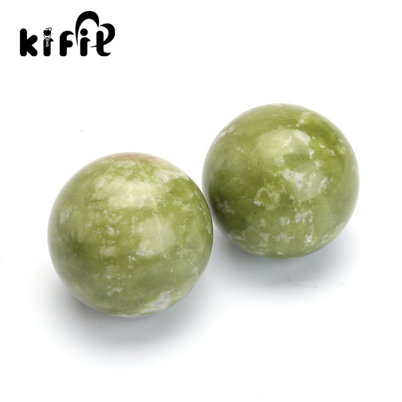 KIFIT 2pcs Chinese Health Exercise Stress Jade BAODING Balls Relaxation Relief Therapy Hand Care Tool 2pcs lot natural massage jade stone hand ball rolling exercise meditation stress relief fitness health healing reiki balls