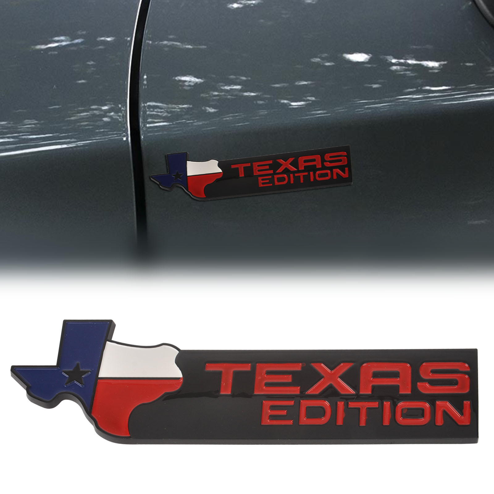 Mayitr 3d texas edition car trunk tail emblem side wing badge car fender sticker decal for chevrolet chevy black