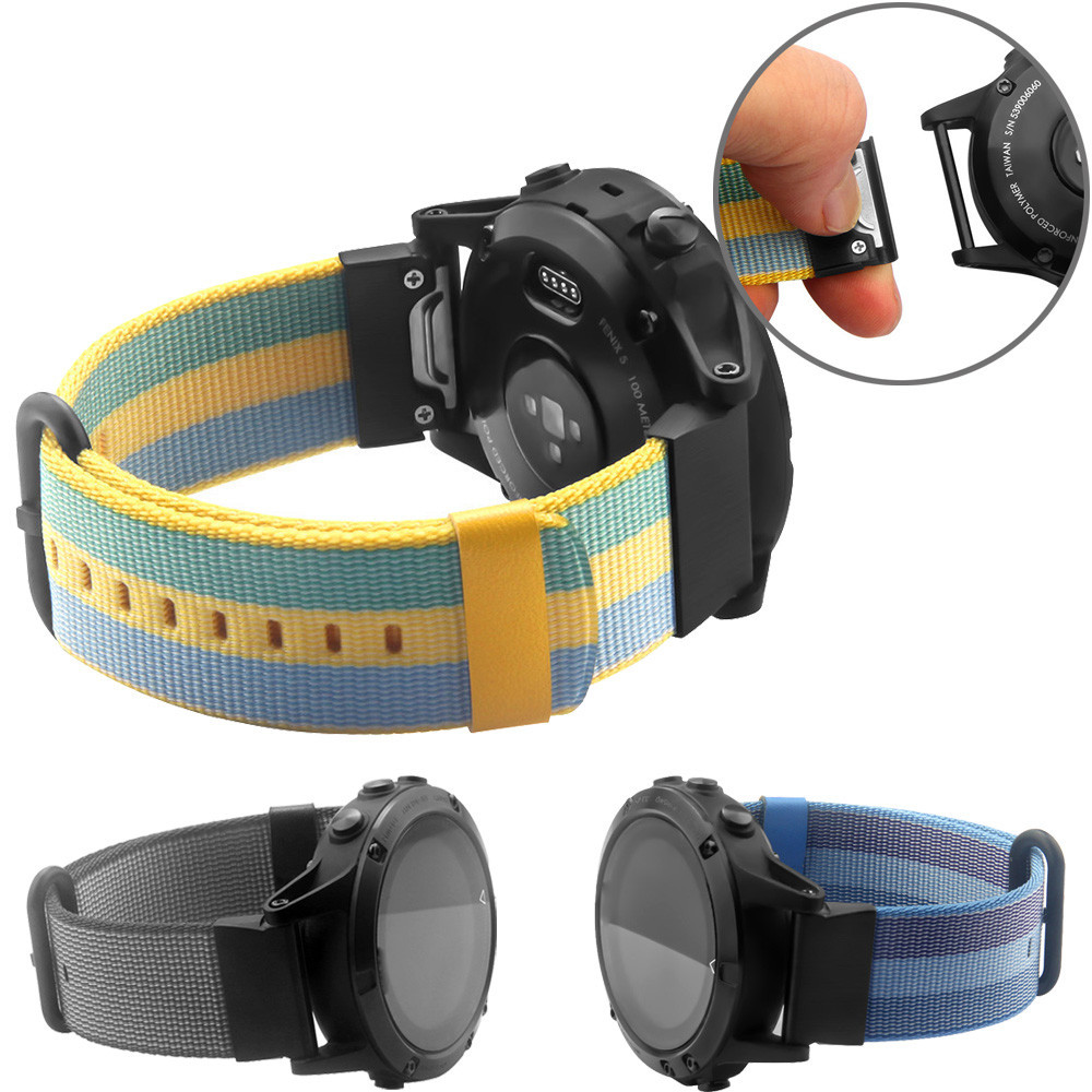 22mm Woven Nylon Strap Replacement Quick Release Easy Fit Band for Garmin Fenix 5/ forerunner935/ Approach S60 22mm width nylon strap for garmin fenix 5 band outdoor sport watchband with quick fit for garmin fenix 5 replace wrist band