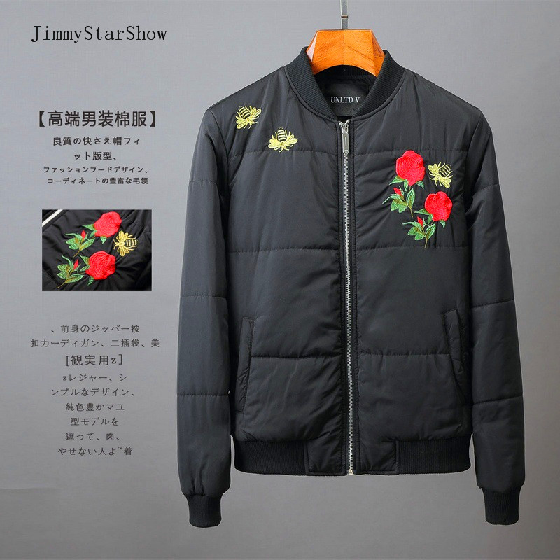 ФОТО New Fashion Classic Rose Small Bee Embroidery Thermal Thickening High Quality Men Cotton-padded Jacket Winter Outerwear
