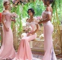 Розовое Кружевное платье подружки невесты с аппликацией, Сексуальная Новинка 2018, длинные платья подружки невесты для свадебной вечеринки со шлейфом размера плюс 2 26w