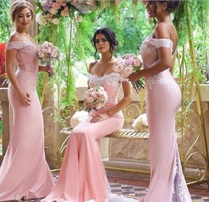 Image 1 - Pink Lace Applique Sexy 2018 new Mermaid Long Bridesmaid Dresses Maid Of Honor For Wedding Party With Train plus size maxi 2 26w