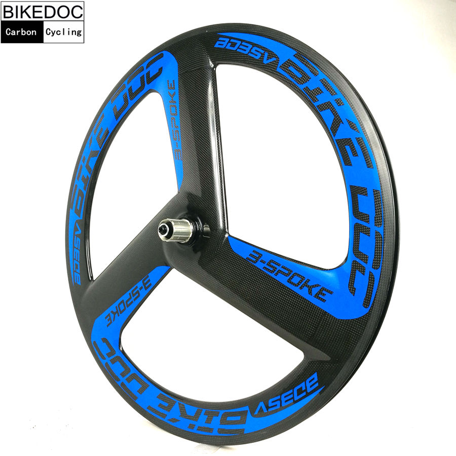 BIKEDOC Bicicleta Carbon 3 Spoke Wheel 700c Fixed gear wheel Toray 700 Tri Spoke Wheel easy installation 700c magnesium alloy wheel 5 knife gear fixed wheel bicycle wheel bearings integrated one wheel