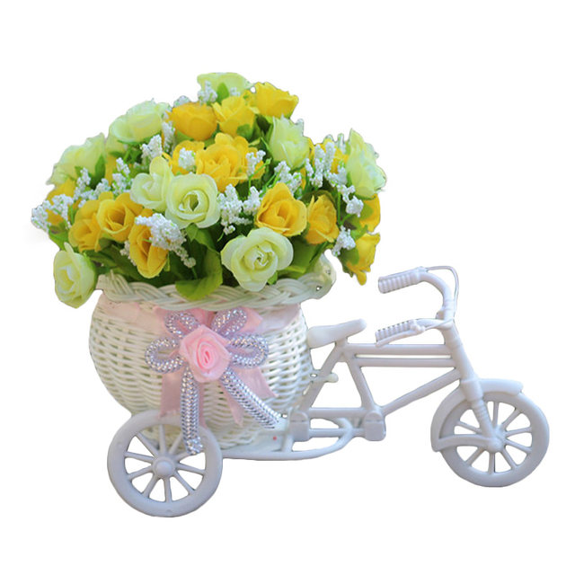 Rose With Rattan Frames For Bicycles Decorative For Home Decoration One Set  Artificial Rose( Rattan Floats Vase + Flower) Silk