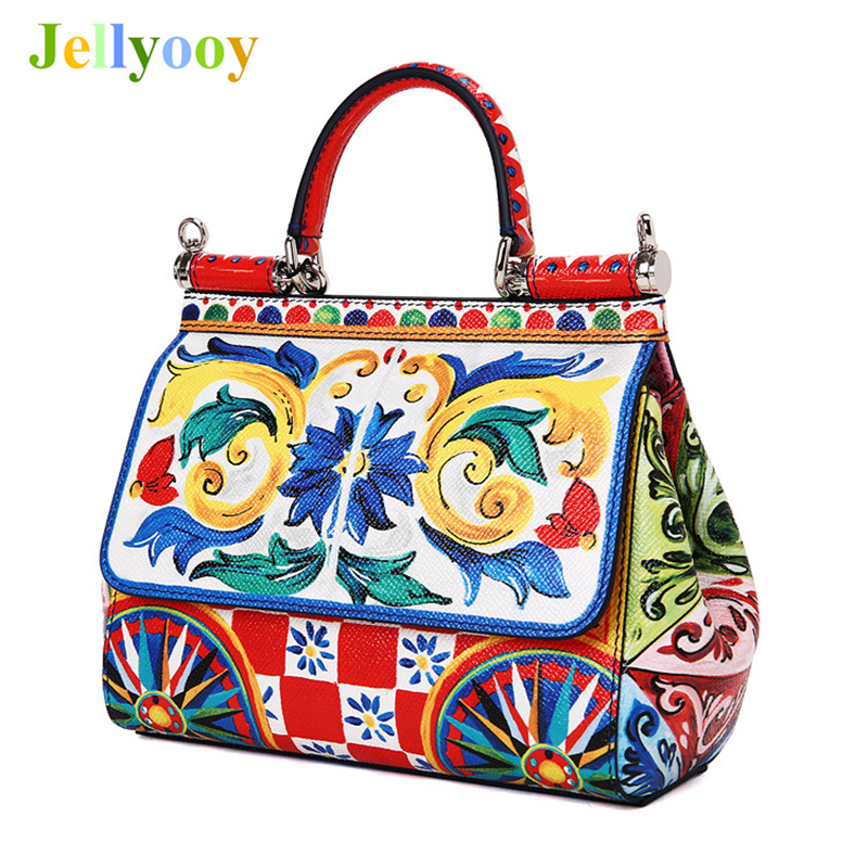 Luxury Italy Brand Ethnic Flower Color Print Sicilian Bag Genuine Leather Women Tote Bag Female Shoulder Bags Original Quality luxury italy brand sicily ethnic bag genuine leather women casual tote platinum bags star moon print lady shoulder messenger bag