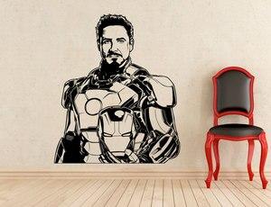 Image 1 - Pegatina de Tony Stark, superhéroe Iron Man, vinilo extraíble, calcomanía para casa, habitación de niño, Art Decó, adhesivos exclusivos para pared CJY23