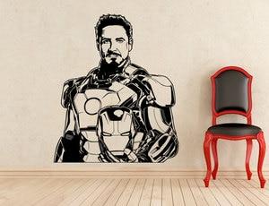 Image 1 - Tony Stark Sticker Iron Man Supereroe, vinile Staccabile Della Decalcomania Casa Coperta Boy Stanza di Arte Deco Ventole Esclusivo Autoadesivi Della Parete CJY23